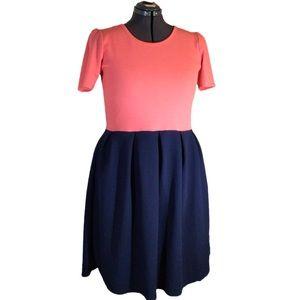 LuLaRoe Amelia Dress Coral & Navy Textured XXL